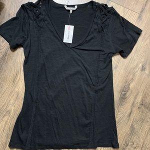 BKE black short sleeve criss cross cutout shirt